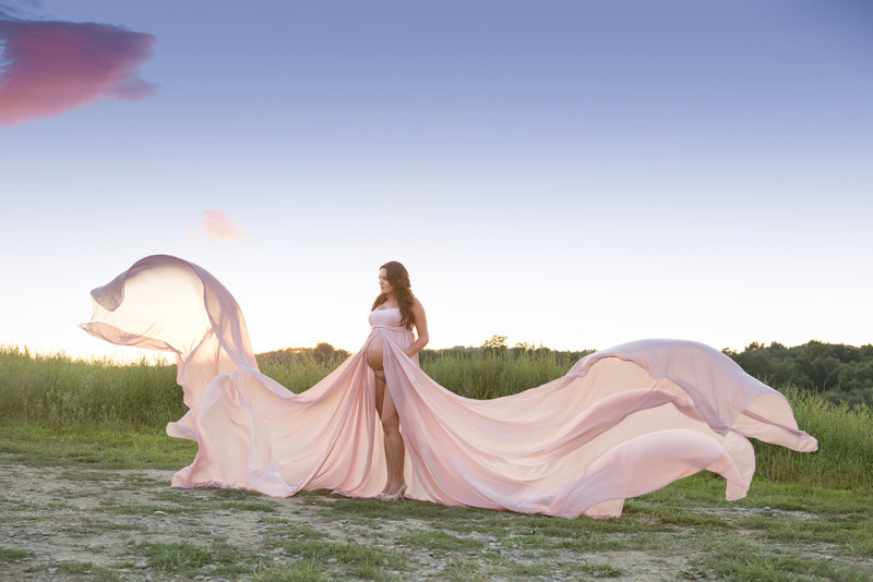 fine art photography outdoor maternity pregnancy photos at sunset in a flowing gown in the Hudson Valley by Cornwall NY professional photographer photo studio