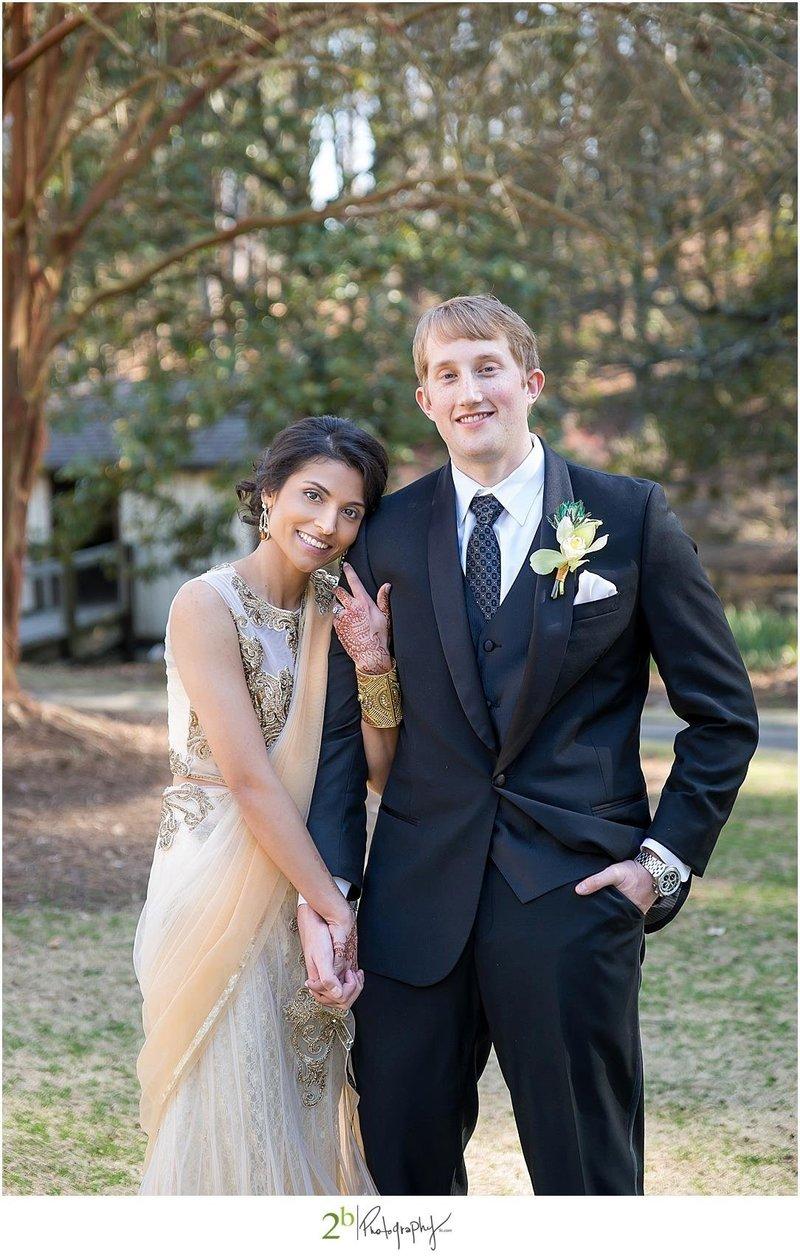 Indian bride and groom | garden wedding |multi-cultural wedding