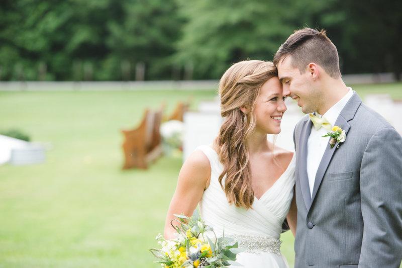 Bride and groom summer farm wedding | grey and yellow wedding