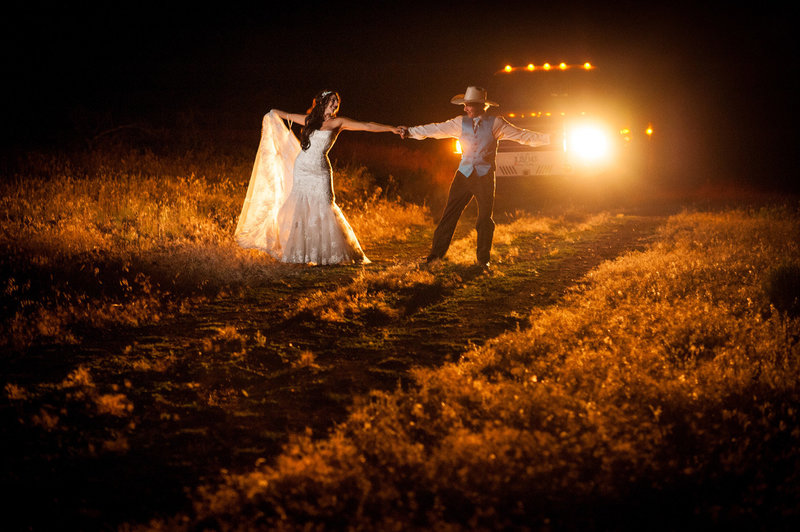 Central Oregon wedding after dark with the Profoto light by Central Oregon wedding photographer Pete Erickson.