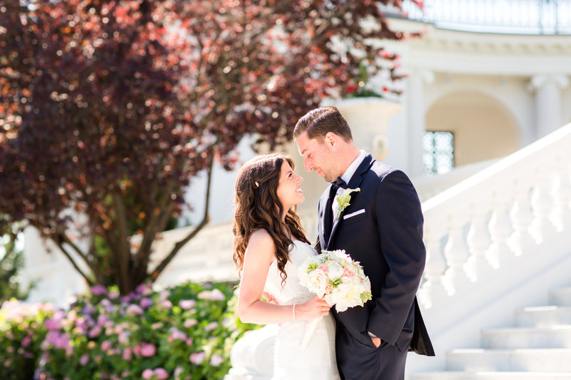 Bride and groom at University Library of Monmouth University
