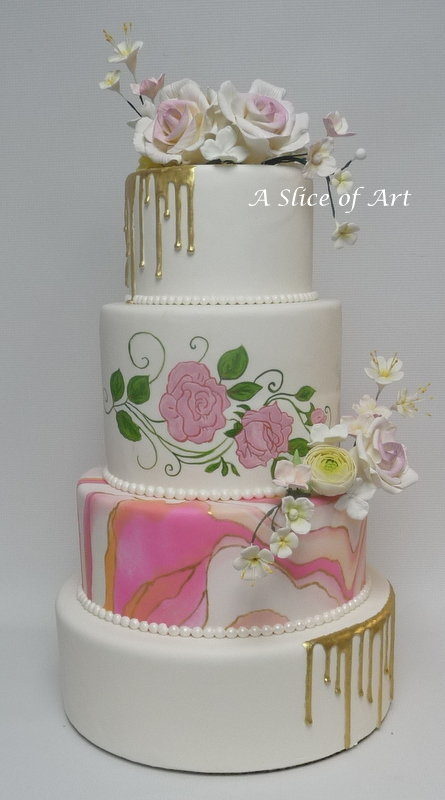 Marbled gold drip wedding cake