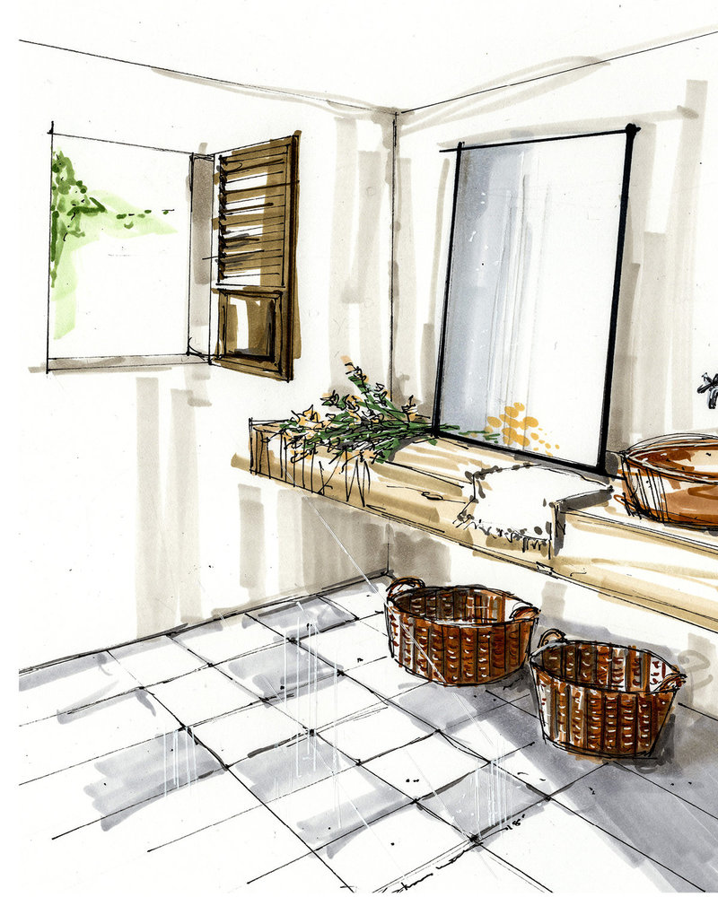 Modern Bathroom Rendering Image