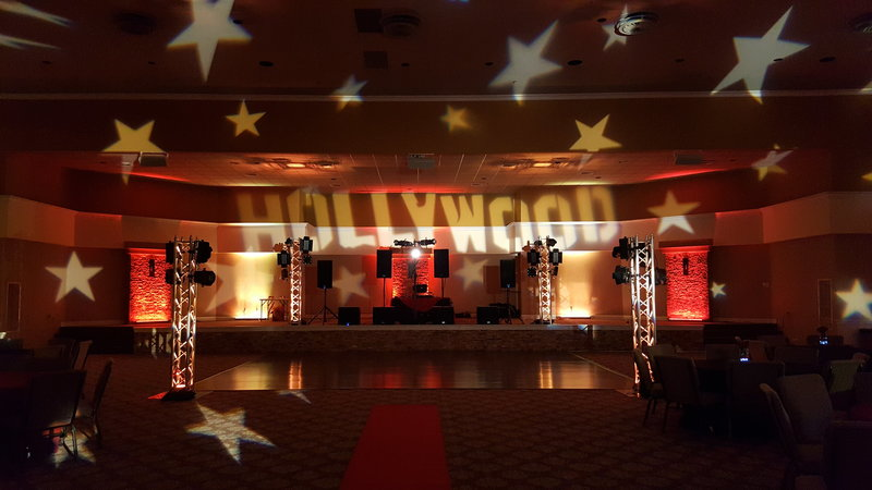 We themed out a school dance with this Hollywood lighting design.