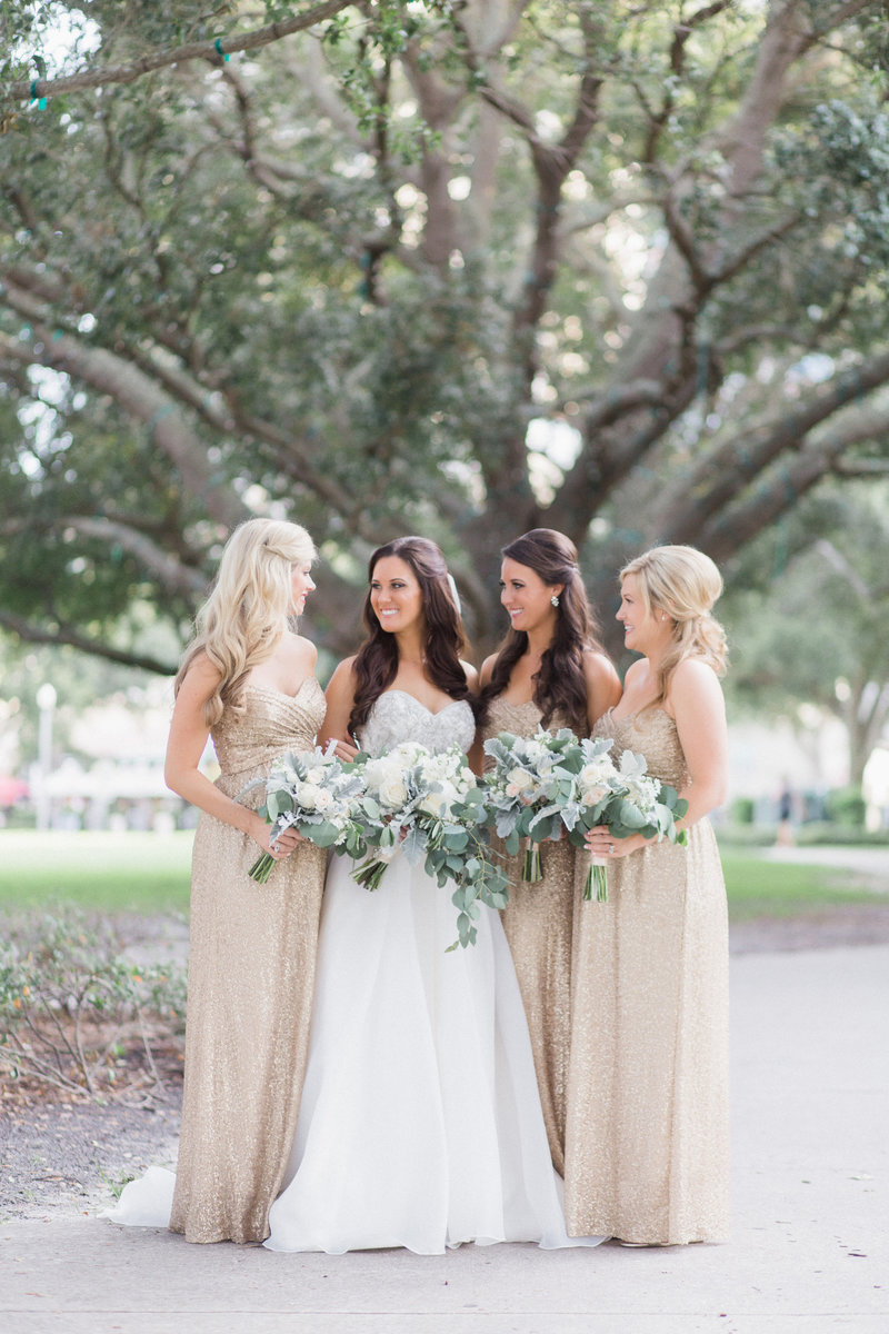 Gold Sequin Bridesmaid Dresses Greenery white bouquets St Pete Wedding