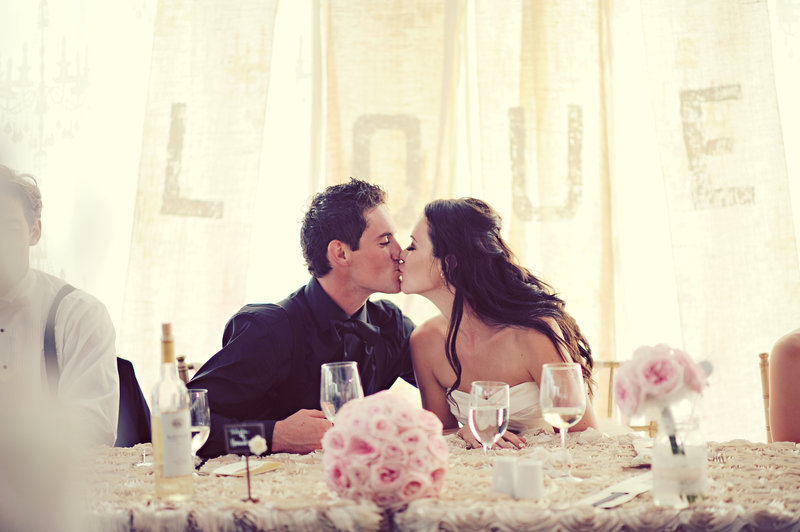 Bride and groom kissing at a Calgary wedding