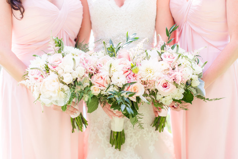 Pink and cream wedding bouquets