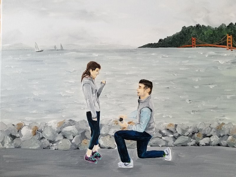 First Anniversary Gift Custom Proposal Portrait Painting By Brittany Branson