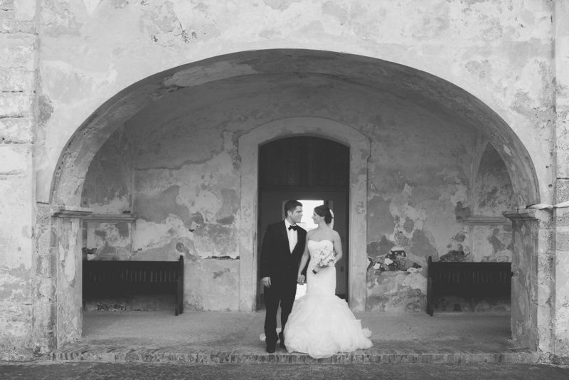 Bride and Groom at Castillo San Cristobal San Juan, Puerto Rico