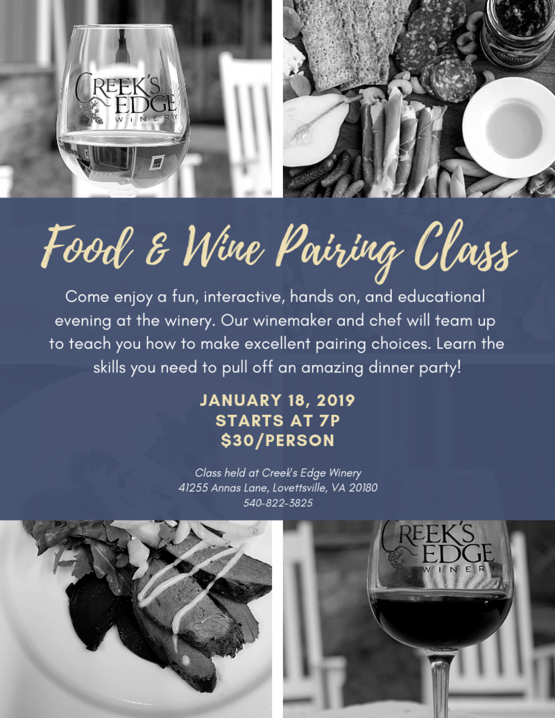 January Food and Wine Pairing Class