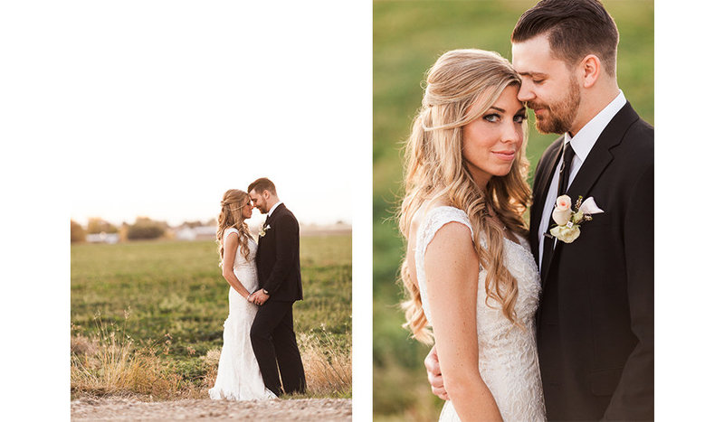 A pair of editorial images photographed near Still Water Hollow in Nampa, Idaho,  of a fashionable, modern, bride and groom sharing quiet moments together at twilight during an Indian Summer evening, with green fields surrounding them.