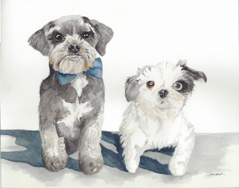 Davinci and Vincent puppy watercolor painting