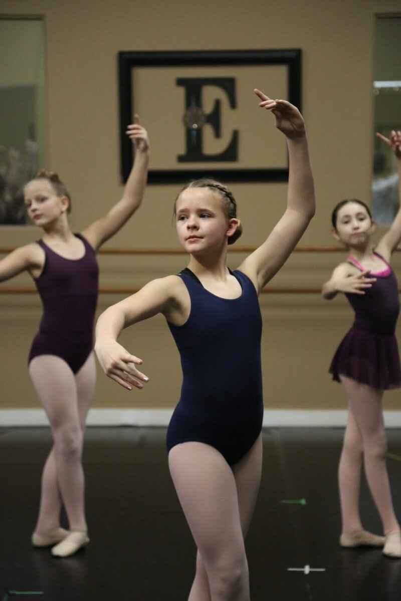 Ballet dancers in class in Southlake studio