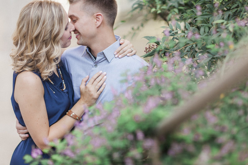 Love Tree Studios engagement session campus kiss