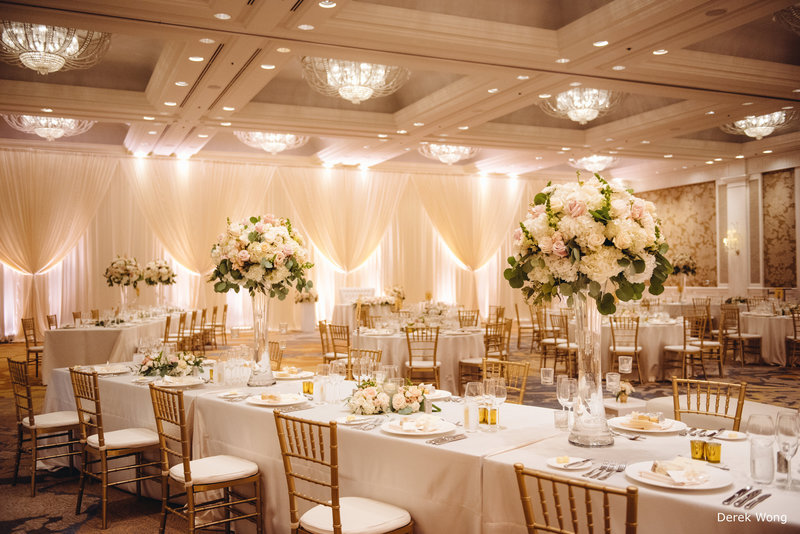 WM Four Seasons ocean ballroom ivory linen gold chiavari chairs pipe & drape wedding