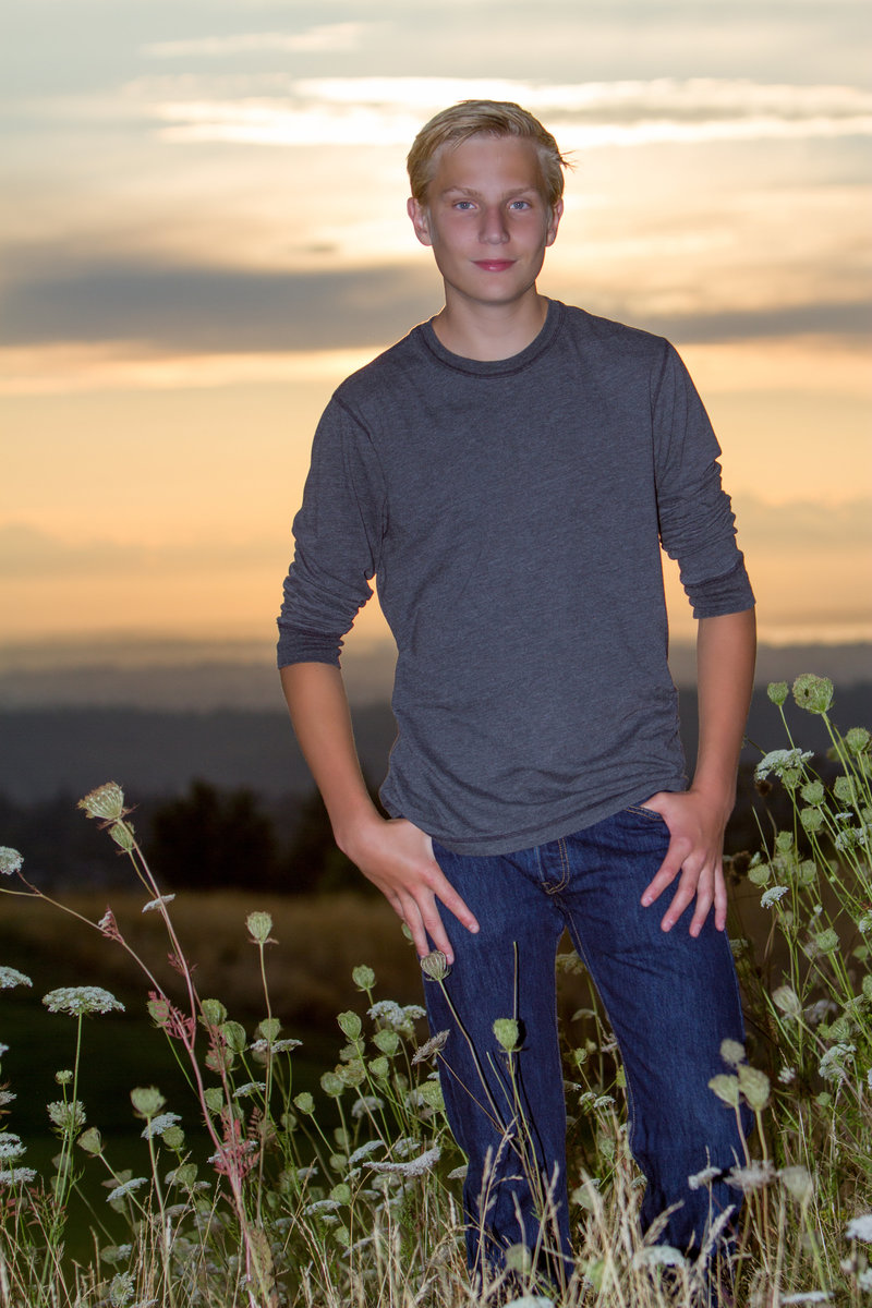 Sammamish  high school senior at sunset