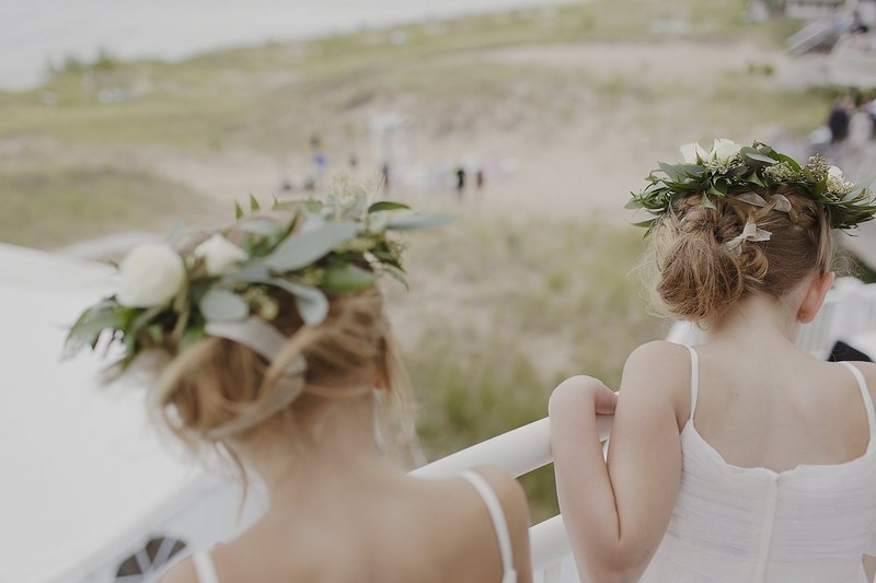 Flowergirls with greenery in their hair
