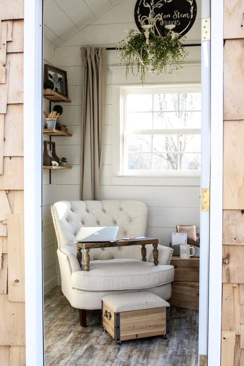 CottonStem.com she shed farmhouse office shiplap