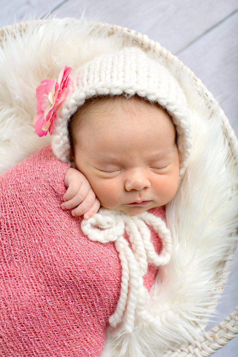 myrtle beach newborn photography baby girl in pink and cream
