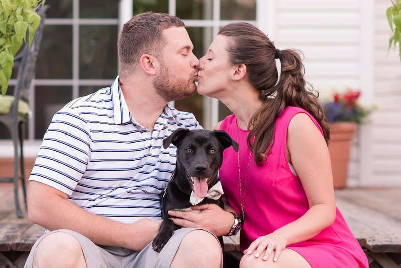 engagement session at family home with dog bordentown nj