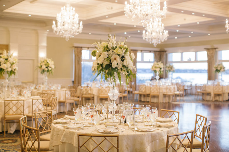 wedding reception hall at Clarks Landing yacht club