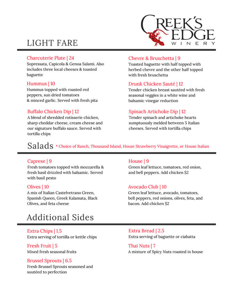 Copy of updated menu