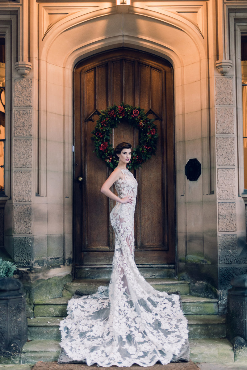 A bridal portrait on a styled Christmas shoot with BERTA and Susan Hopkins Weddings and Events