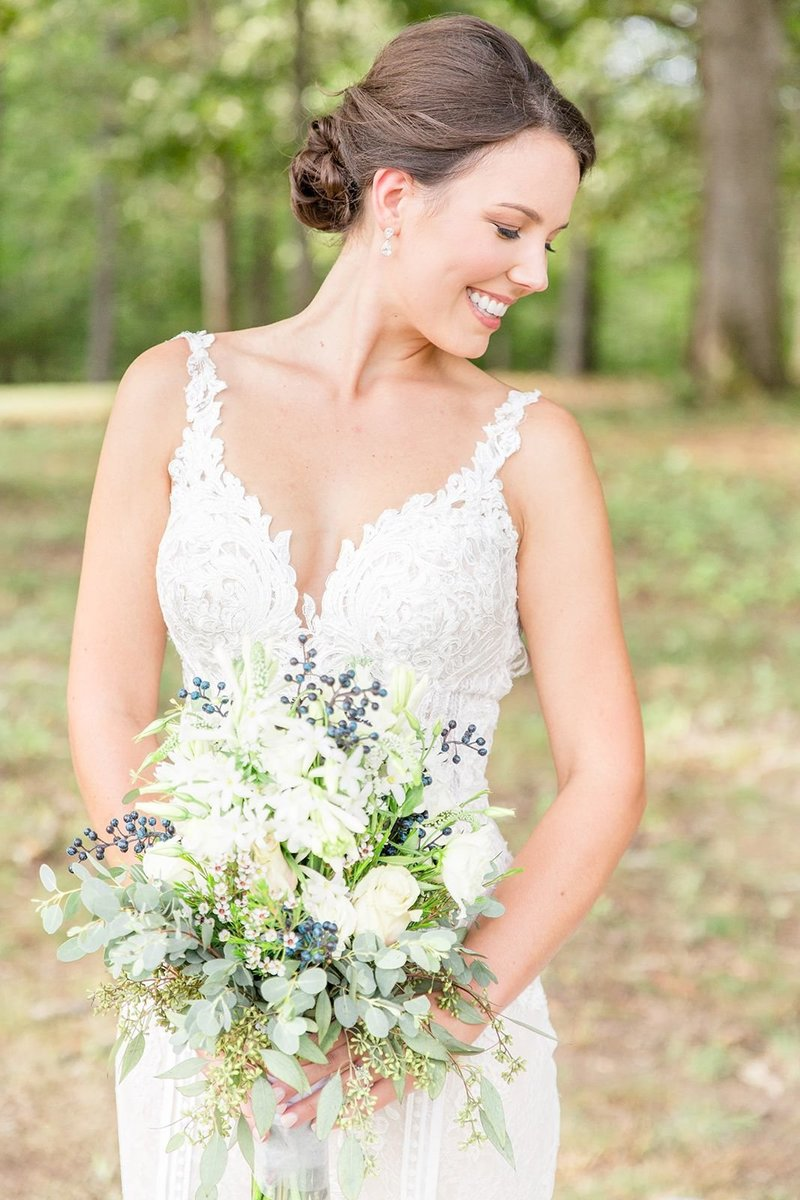 Classic Bridal Portrait with Ivory & White Wedding Dress  Best Birmingham, Alabama Wedding Photographers Katie & Alec