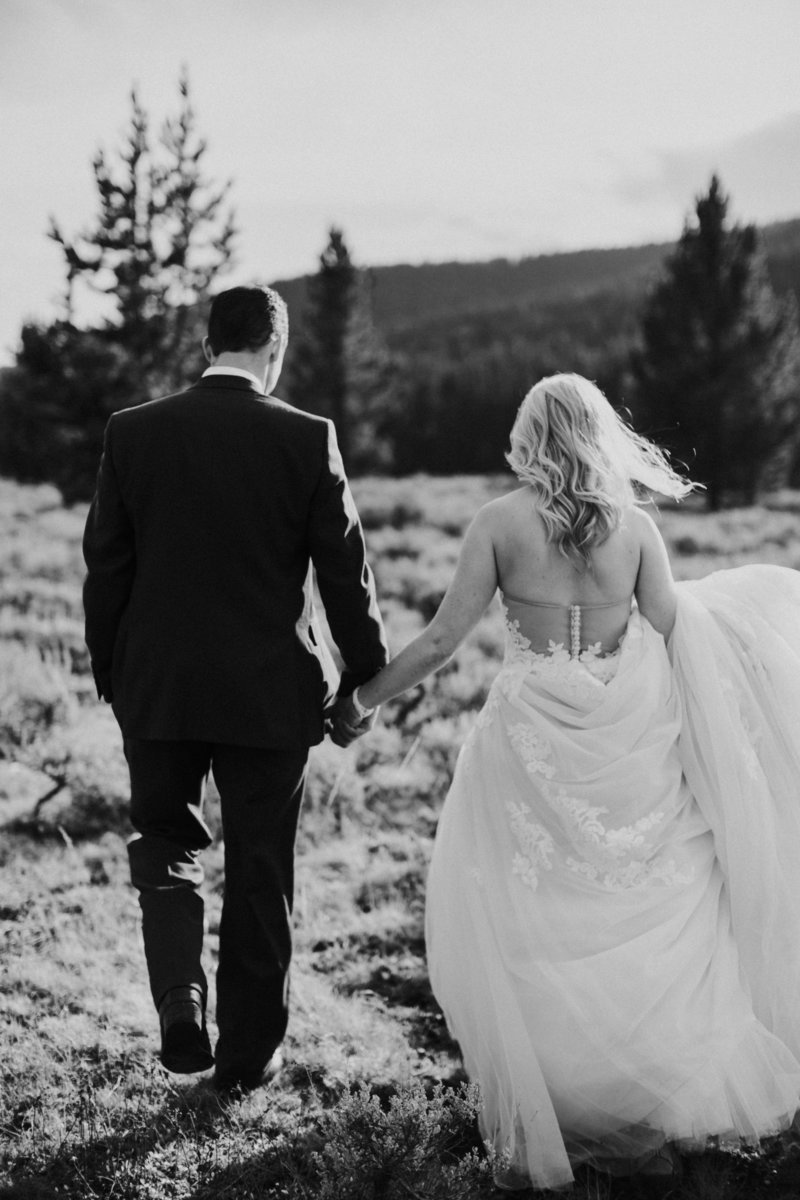 Big Sky Yellowstone Montana Wedding Bride and Groom Holding Hands