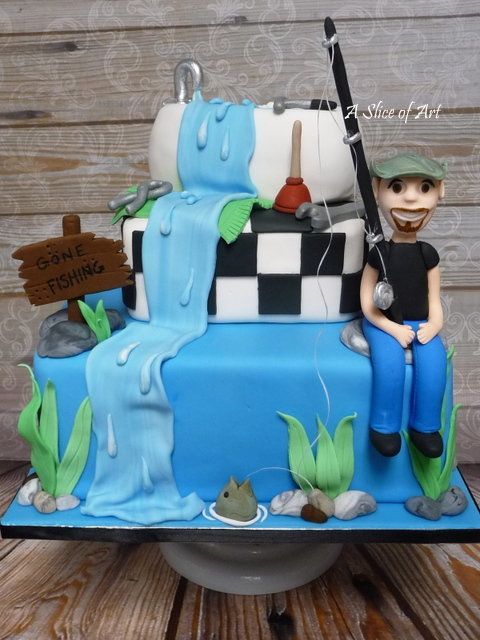 fish plumber birthday cake