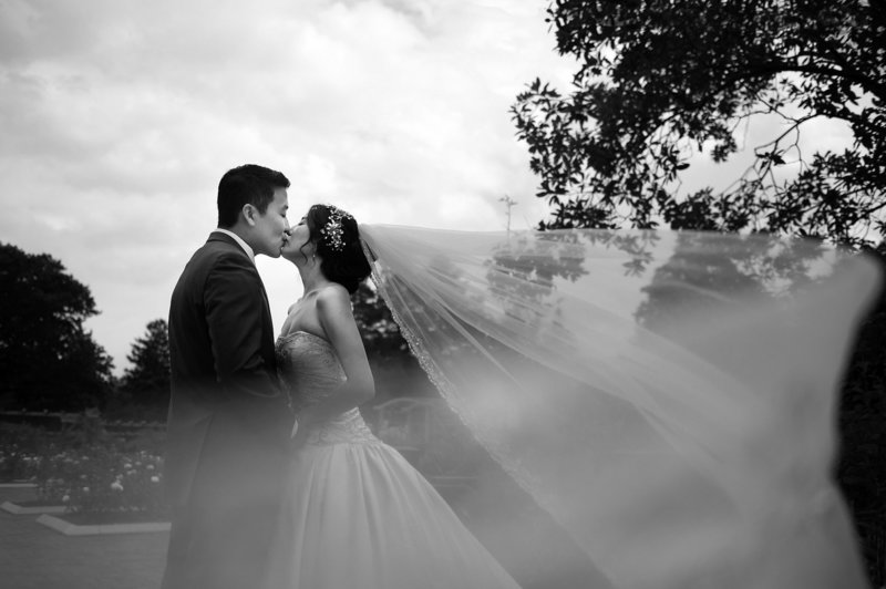 bridal portrait of couple at the park