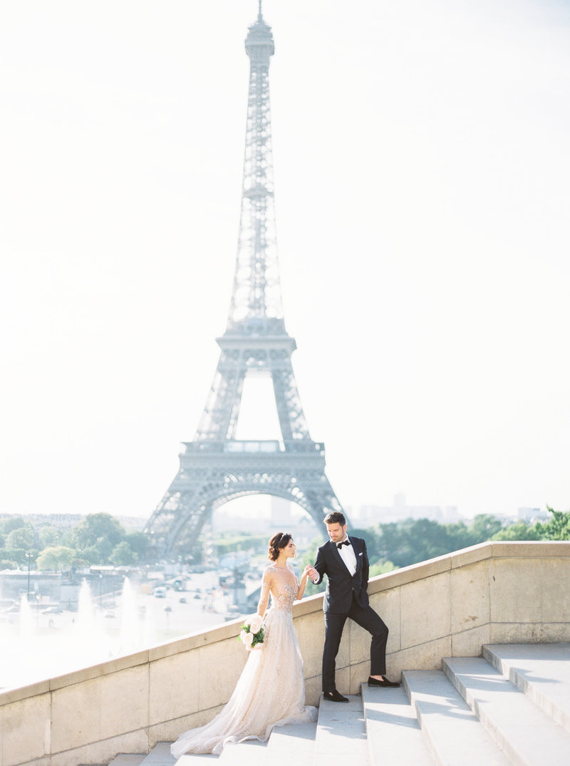 Bride and Groom at Eiffel Tower in Paris, France