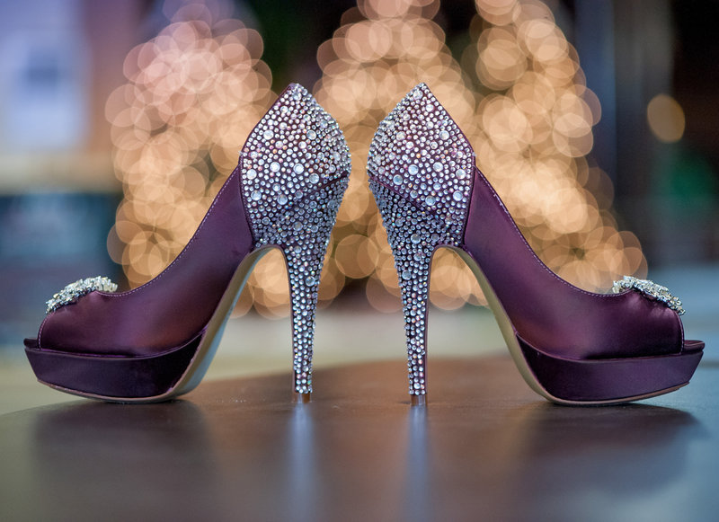 Plumb colored wedding shoes with diamond studs pictures by Kris Kandel Fargo photographer.