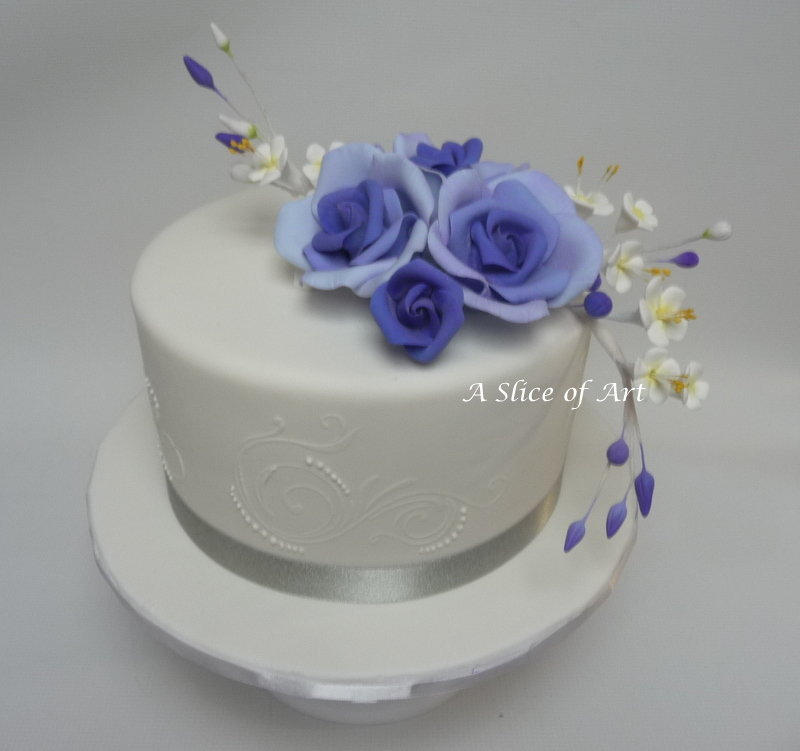 purple rose fondant wedding cake