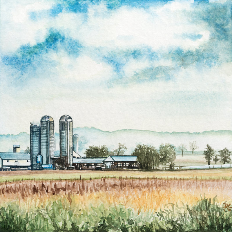 "2018-03 Lancaster Farm - 7.5""X7.5"" - watercolor on rough canson 140lb - web"