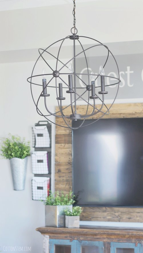 farmhouse-industrial-church-entry-foyer-metal-orb-chandelier-pendant-light-fixture-metal-sign-reclaimed-wood