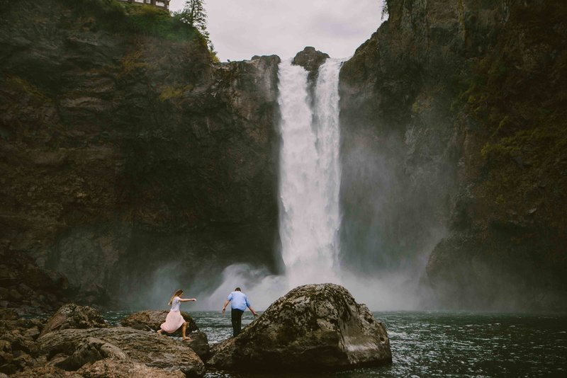 Snoqualmie Falls Seattle WA Engagement Photo