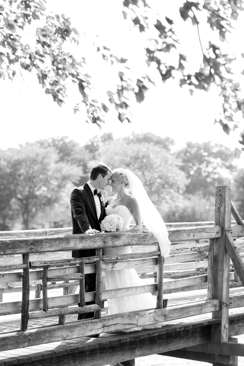 Classic black and white portrait of bride and groom