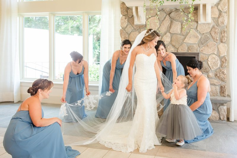 Bridesmaids in Bill Levkoff Dresses