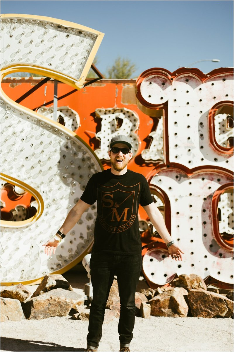 Stevie laughing at Neon Museum in Las Vegas