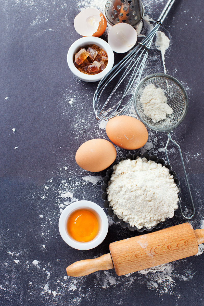 Baking photo with flour and eggs from deposit photos
