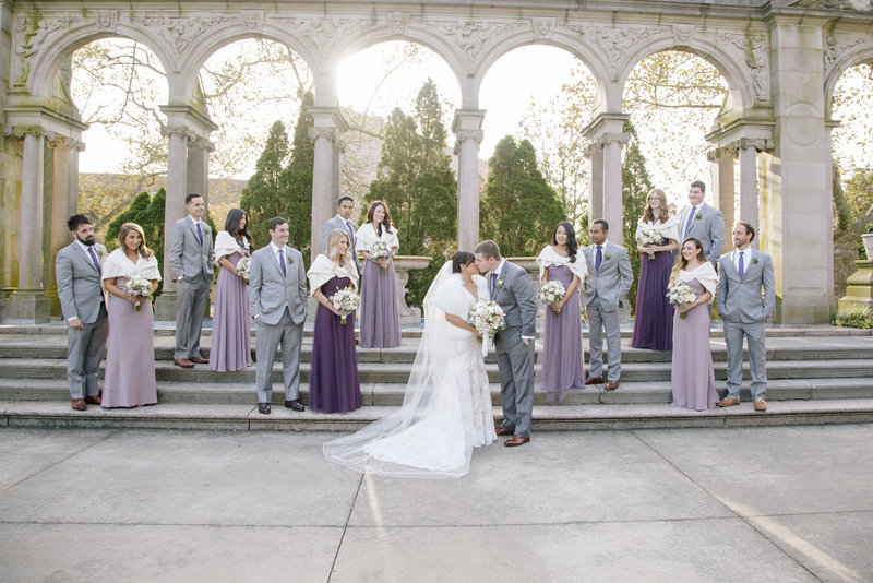 bridal party on steps at monmouth university