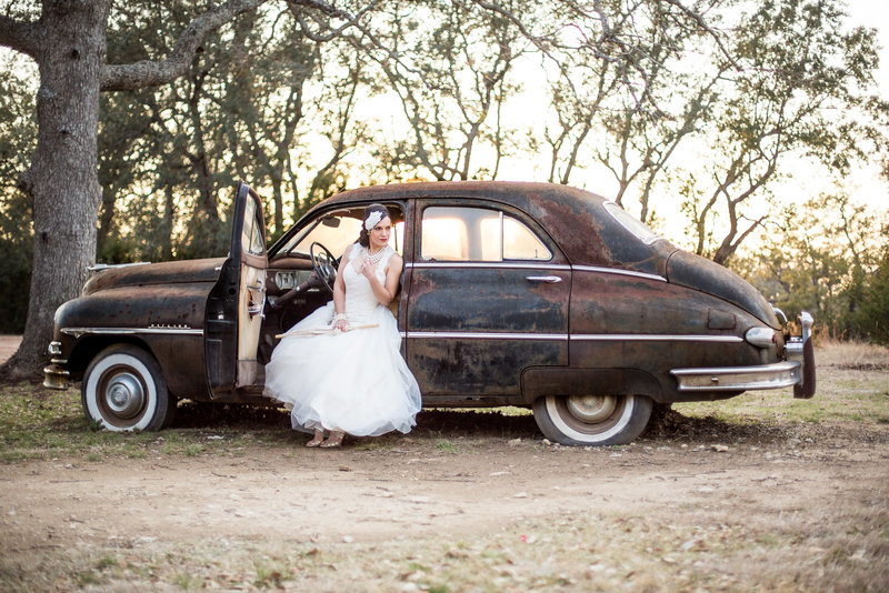 San Antonio Wedding photographer picture of bride sitting in vintage car pictures by Expose The Heart Photography