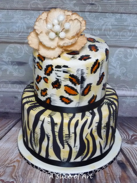 painted leopard cake