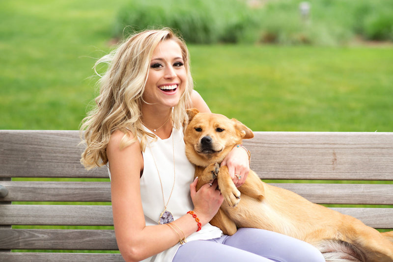High School Senior loves her dog at the Winspear Opera House in Downtown Dallas