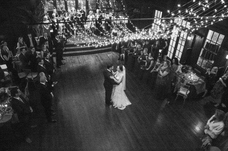 black and white wedding first dance shot from above