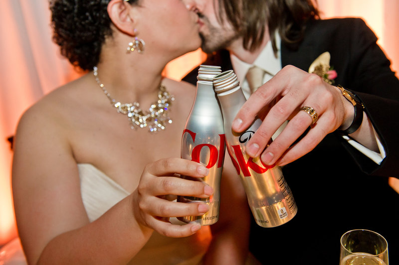 Wedding reception toast with coca cola  at Adventure  Aquarium