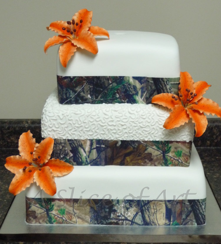 camo tiger lily wedding cake