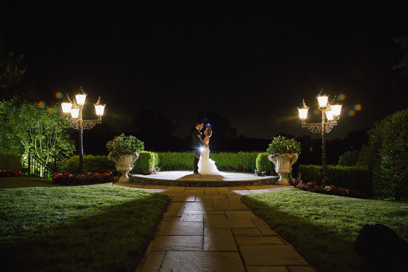 night shot of bride and groom at the park savoy estate