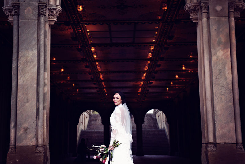 Bride under the arches in Central Park New York City
